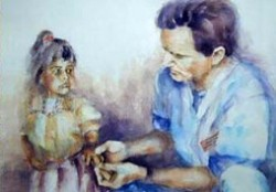 painting of doctor looking at child's hand